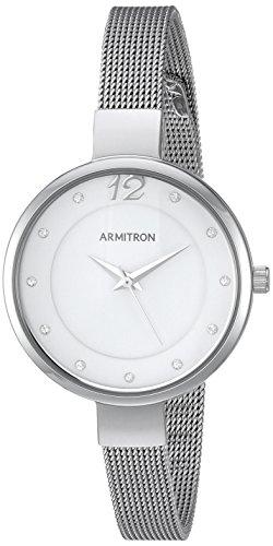 Armitron Women's 75/5465WTSV Swarovski Crystal Accented Silver-Tone Mesh Bracelet Watch