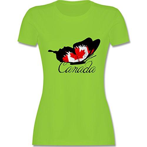 Länder - Schmetterling Canada - tailliertes Premium T-Shirt mit Rundhalsausschnitt für Damen Hellgrün