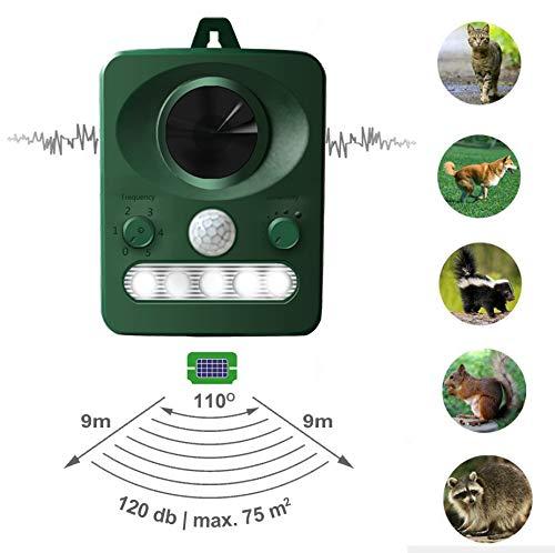 LEBANDWIT Solar katzenschreck, UltraschallTiervertreiber hundeschreck mit LED Blitzlicht und Bewegungssensor für Bauernhof, Hof, Garten und Grünland(1 Stück)