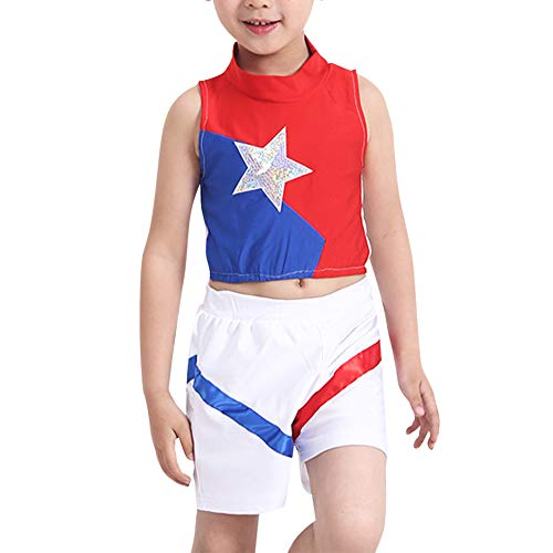 Daytwork Cheerleader Kinderkostüm Karneval Fasching - Kostüm Mädchen Tanzen Outfit Star Uniform Jungen Oberteil + Rock oder Kurze - Moderne Aerobic Kostüm