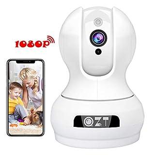 QZT WLAN Kamera, HD 1080P WiFi IP Kamera Home Überwachungskamera mit Nachtsicht, Bewegungserkennung, 2 Wege Audio, App Fernalarm, Ethernet Video Überwachung Cam (Indoor)