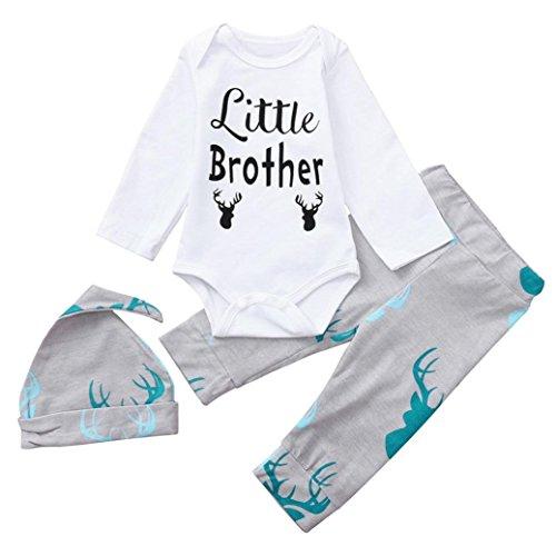 Saihui Boys Clothing Sets, 3PCS Newborn Baby Boy Girl Cute Set Deer Print Romper Tops+Long Pants Hat Outfits Playsuit Bodysuit Clothes