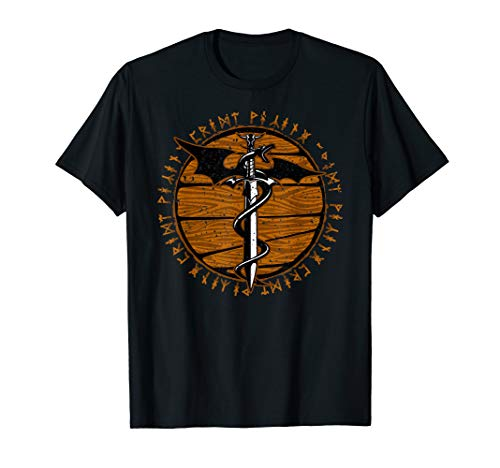 Viking Dragon Sword Wooden Distressed Runes T-Shirt - Show Shirt Archer