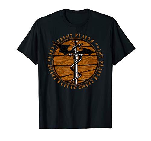 Viking Dragon Sword Wooden Distressed Runes T-Shirt - Show Shirt Archer