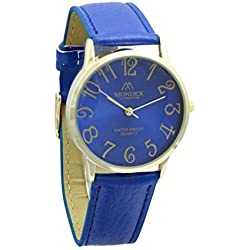 Mondex / Azaza / MABZ Ladies Gold Plated PU Leather Strap Watch (Blue Strap With Blue Dial)