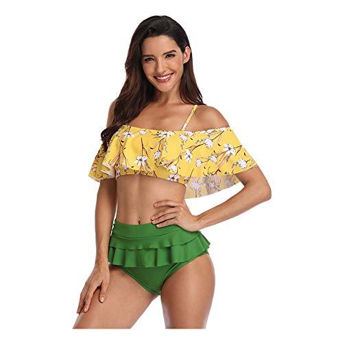 Meijunter Damen Tankinis Bademode Set - Vintage Floral Rüschen Schulterfrei Halfter High Waist Gepolstert Bikini Strand Badeanzug (2 Stück) -