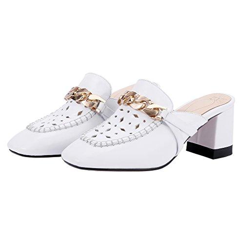 ENMAYER Frauen Slip-on Med Fersen Schuhe für Frauen Spitz Zehen-Quadrat Fersen Outdoor Casual Mule Schuhe Weiß