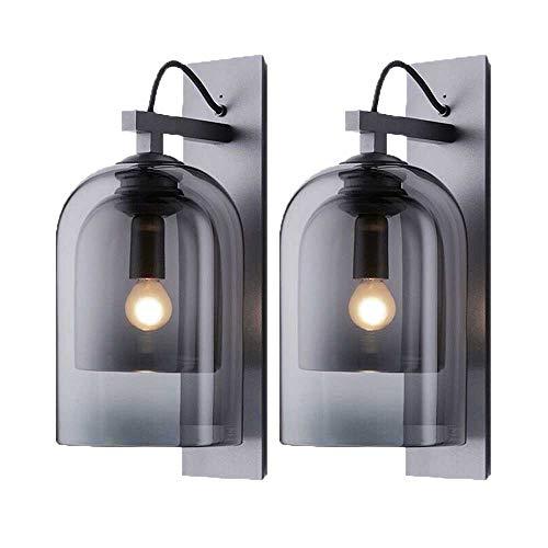 Innen E14 Wandleuchte, Auccy Modern Creative LED Wandleuchten Runde Rauchgrau Lampenschirm aus Glas Wandlampe für Nacht Schlafzimmer Flur Wohnzimmer Dekoration Wandbeleuchtung Licht
