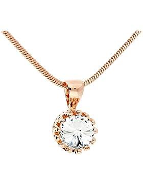 MYA art Damen Halskette Kette Collier mit einem Solitär Stein Anhänger Swarovski Elements Kristall in Rosegold...