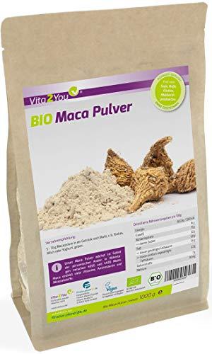 Maca Pulver 1kg - Bio Qualität - Maca-Wurzel - ganze Knolle gemahlen - 1000g im Zippbeutel - Premium Qualität (Roter Smoothie Mixer)