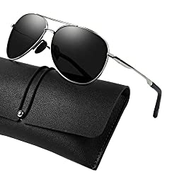 WHCREAT Klassisch Unisex Polarisierte Sonnenbrille mit Ultraleicht Verstellbaren Metallrahmen HD-Linse für Herren und Damen - Silber Rahmen Schwarz Linse