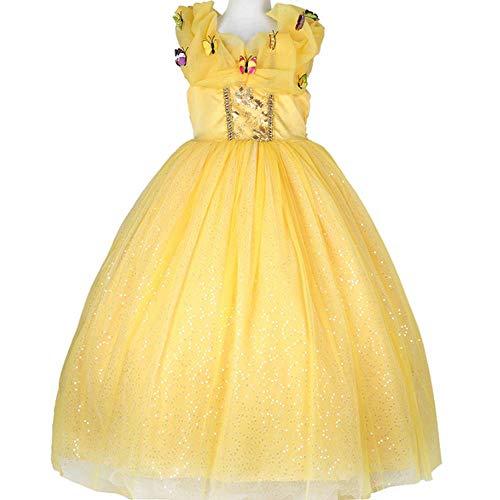 Belle Princess Kleid mit zarten Blumenmuster und bunten Schmetterlingen, Halloween Girl Maskerade Kleid mit 5 Größen für 3-10 Jahre Alten Kinder - Fairy Girl Kostüm