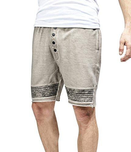 trueprodigy Casual Herren Marken Sweat Shorts mit Aufdruck, kurze Jogginghose cool und stylisch Vintage (Sportlich & Slim Fit), kurze Sweathose für Männer bedruckt, Größe:L, Farben:Darkgrey