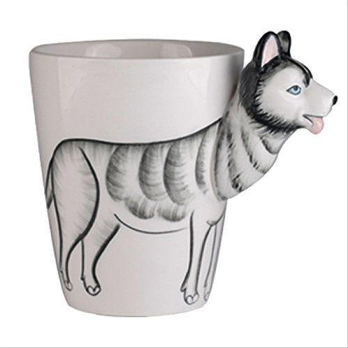 Hoga Max Porzellan Tasse Kaffeebecher 3D Tiermotive 400 ml HF149 (Hund Husky)