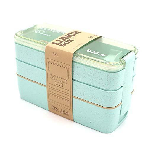 ZUEN Lunchbox 3 Lagen Wheat Strah 900ml Lunchbox Gesundheit Materialien Microwave Tableware Food Storage Container Lunchbox,Green Green Food Storage