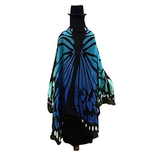 terling Flügel Schals Nymphe Pixie Poncho Kostüm Verkleidung Zubehör für Show / Daily / Party, Damen Schöner Chiffon Schmetterlingsflügel Schal (197*125CM, Blau*Chiffon) (Männer Weihnachten Kostüme)