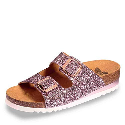 Scholl 647551-50 13 Glam SS 2 Damen Sportive Pantolette aus Textil 40-mm-Keil, Groesse 36, roségold -