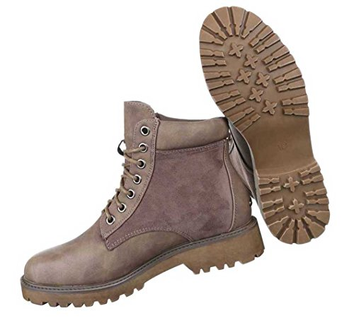 Damen Boots Stiefeletten Schuhe Schnür Schwarz Camel Braun 36 37 38 39 40 41 Hellbraun