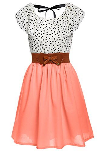 Zeagoo Damen Vintage Sommerkleid Punkt Partykleid Polka Dots O-Ausschnitt Minikleid mit Gürtel