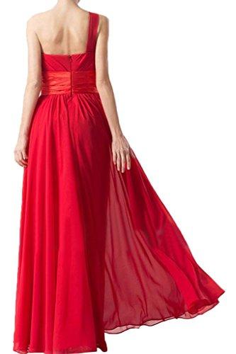 ... Missdressy Elegant Chiffon Lang Ein-Schulter Band Satin Falten  Partykleider Abiballkleider Festkleider Abendkleider Promkleider Rot