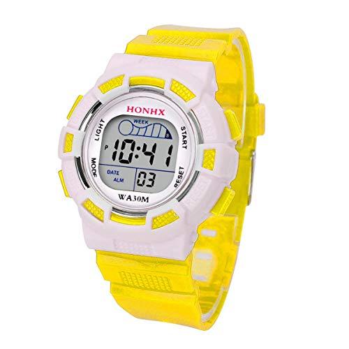 Abstand Armbanduhr FGHYH Männer Wasserdichte Kinder Jungs Digitale Führte Sport Sehen Kinder Alarm Datum Geschenk Uhr Watch Armbanduhr(Gelb)