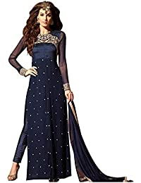 VIHA Women's Georgette Dress Material (MS01_Blue_2_Free Size_Blue)