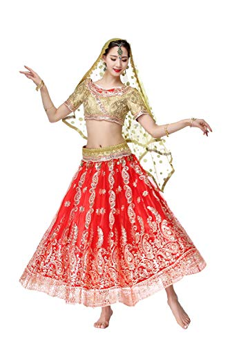 Saree Kostüm - DRESSS Weiblicher Erwachsener Bauchtanz Indian Saree Kostüm, Bollywood Dance Performance Outfit Anzug (Color : Red, Size : M)
