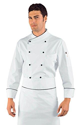 Isacco - Veste Chef Cuisinier Pechino Blanc Noir Noir