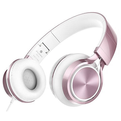AILIHEN MS300 Kopfhörer Mit Kabel Faltbare Stereo On Ear Wired Headset 3,5mm für Android Smartphone Laptop Tablet PC Computer (Rose Gold)