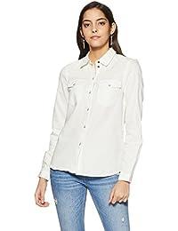 Noisy may Damen Bluse Nmcathy Denim Shirt White