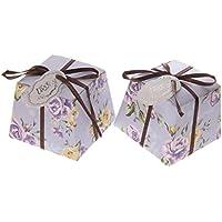 50pcs Florales Trapezoidales de Boda Cajas del Caramelo con las Etiquetas y Cintas - Morado , 110 cm * 120 cm / 43.3inch * 47.24inch