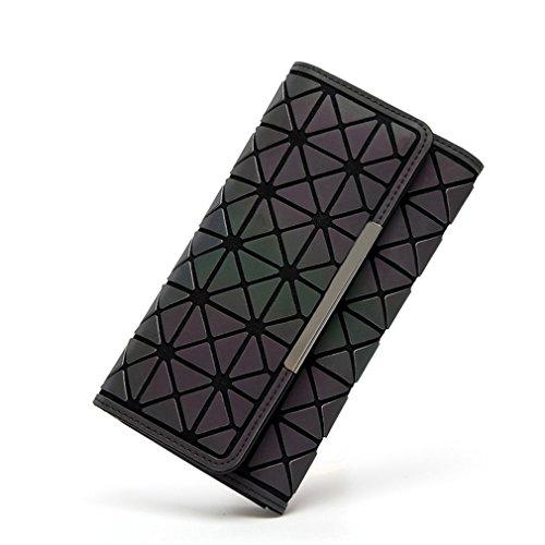 Frauen Lange Baobao Brieftaschen Geldbörse Geometrie Bao Bao Leuchtende Kupplung Weiblichen Handytasche Dreifach Kartenhalter A (Fossil Slim Tasche Brieftasche)
