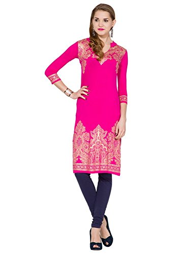 Folklore Women's Straight Kurta (FOKU001569_Pink_Medium)