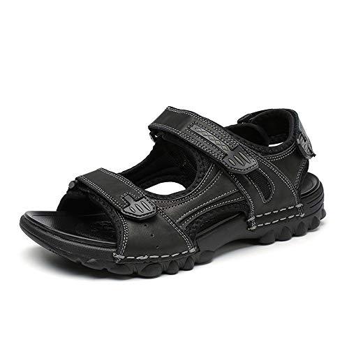 Apragaz Herren Sandalen Outdoor Open Toe Wasser Strand Sandale Leder Sport Sandale (Color : Schwarz, Größe : 48 EU)