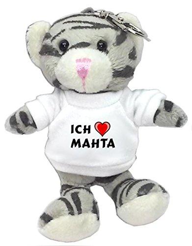 Preisvergleich Produktbild Plüsch Graue Katze Schlüsselhalter mit T-shirt mit Aufschrift Ich liebe Mahta (Vorname/Zuname/Spitzname)