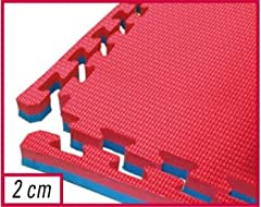 Idea Regalo - Toorx - Tatami ad incastro 100x100x2 cm. con 2 bordi rosso-blu superficie goffrata antiscivolo, anallergico
