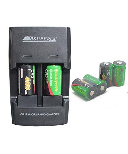 SUPEREX® 6 Stück CR2 15270 wiederaufladbare aufladbare ladbare Batterien rechargeable battery + Smart charger digital Kamera camcorder Akku Ladegerät ladestation Akku Li-on lithium Batterie für 3V 400mAh CR2 EU Stecker schwarz