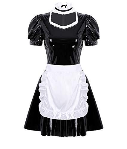 MSemis 3Pcs Damen Kostüm Dienstmädchen Lack Leder Kleid Lolita Cosplay Uniform Dessous Set Minikleid, Satin Schürze, Halsband Clubwear Gr. S-XL Schwarz Medium