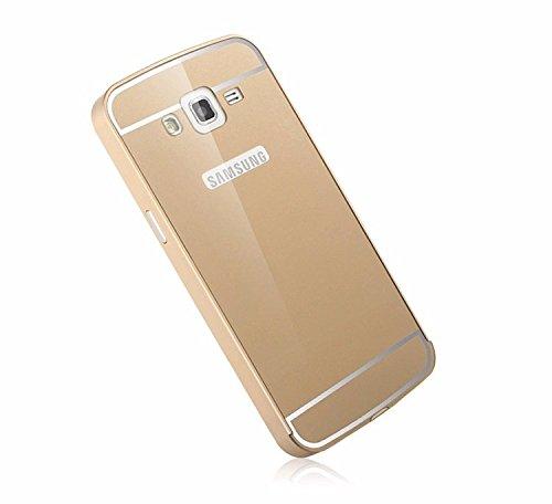 Luxury Aluminium Frame Acrylic Back Cover Case Bumper For Samsung Galaxy Grand MAX G7200-GOLD