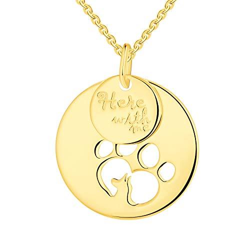 JO WISDOM Kette Damen Vergoldet Hund Pfoten Anhänger 925 Silber Münze Tatze Halskette