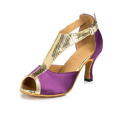 Ruhe @ Damen Wildleder Sohle Satin Tanzschuhe moderne/Salsa/Latin/Swing Schuhe Heel Schwarz Latin/DANCE Sneakers/Tippen Rot