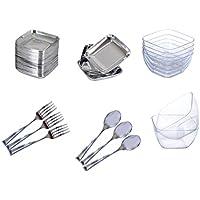 mws MEDIAWAVE Store Set completo di 54 pz per party aperitivi Finger Food con posate in plastica 609607