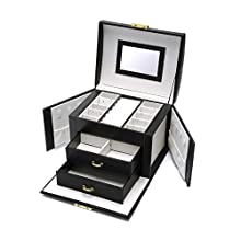 Euclidean Cube Jewellery Box Jewellery Organizer with 2 Drawers Portable PU Leather Jewelry Storage Case with Mirror and Lock Gift for Women Girls (Black)
