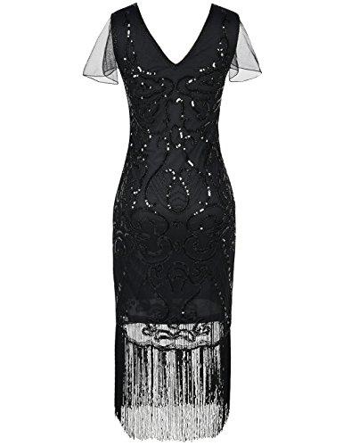 PrettyGuide Damen 1920er Flapper Kleid Pailletten Great Gatsby Cocktailkleider Schwarz