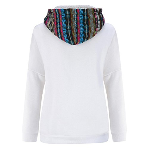 maglione con cappuccio, FEITONG donna manica lunga più ispessita camicetta top velluto bianco