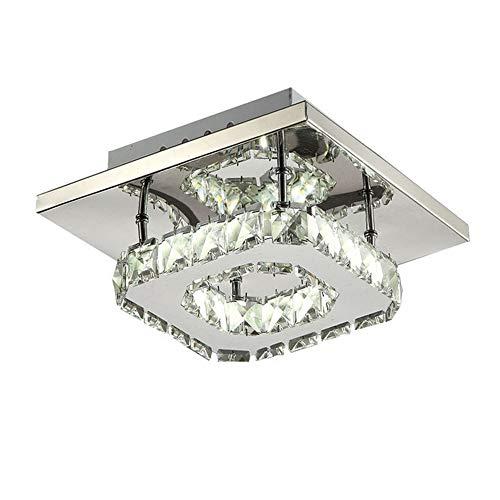 Cristallo plafoniera lampada da soffitto moderna lampadario in acciaio inox per soggiorno e disimpegno, 12w led