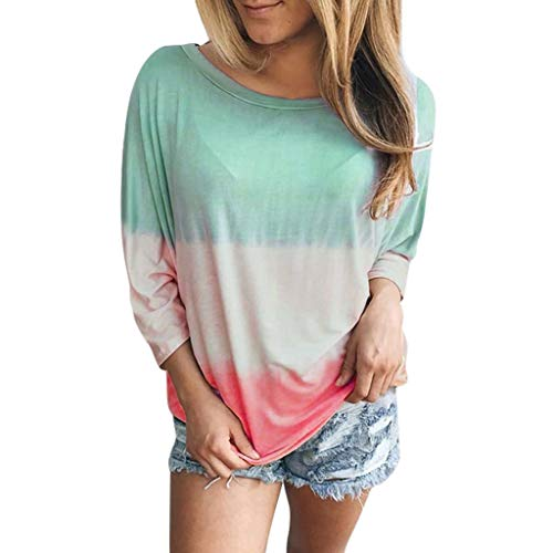 Damen Tuniken T-Shirt Langarmshirt Gradient Farbe Bluse Tops Baumwolle Oberteil Shirt Rundhals Ausschnitt Lose Bluse Hemd Pullover Sweatshirt Oberteil Tops Shirts - Billabong-zip-fly Shorts