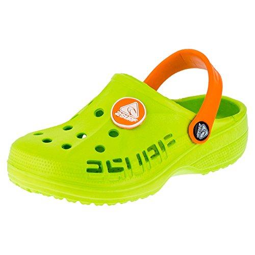 2Surf Kinder Clogs Unisex Mädchen Jungen Gartenschuhe Freizeit in 8 Farben (32, 211gnor Grün Orange)