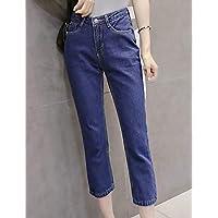 YFLTZ Pantalones de Jeans de algodón para Mujeres - Cintura Alta de Color sólido, Azul, 25