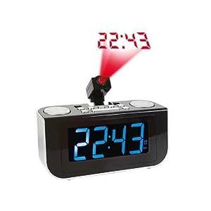 Clip Sonic AR284 Radio-réveil avec projecteur Tuner FM/AM Noir